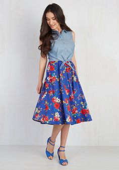 Only Time Will Twirl Skirt. Is this royal blue circle skirt about to be your favorite midi in which to spin? #blue #modcloth