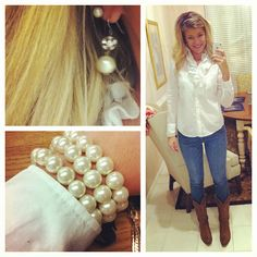 Pearls & boots. Simple but pretty :)