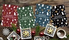 Harry Potter Gryffindor & Slytherin & Ravenclaw & Hufflepuff Hogwarts house Christmas cards