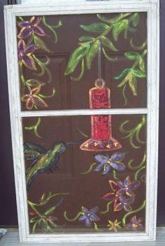 Painted Hummingbird with Feeder & Flowers on Window Screen. $30.00, via Etsy.