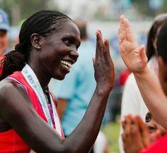 Living Room Ambassador Risper Kimaiyo wins the Long Beach Marathon!