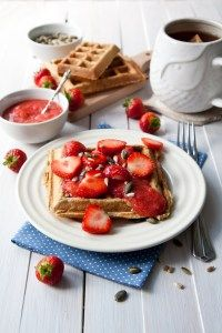 Oat waffles with strawberry jam recipe - great power breakfast to give you energy for the day. Healthy strawberry jam with delicious and sweet oat waffles.
