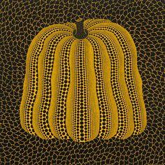 Yayoi Kusama's Pumpkin: dot to dot veggie or metaphor for obliteration? Pumpkin Drawing, Pumpkin Art, Yayoi Kusama Pumpkin, Korean Painting, Frank Stella, Alberto Giacometti, Mirror Painting, Action Painting, Abstract Drawings