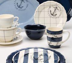 Coastal Decor Archives - Cute Home Designs Nautical Dishes, Nautical Kitchen, Nautical Home, Nautical Style, Nautical Party, Nautical Anchor, Beach Cottage Style, Beach House Decor, Coastal Style