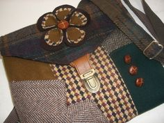 Recycled purse,  mustard purple plaid wool,  upcycled mens suit coat, womens by SewMuchStyle on Etsy https://www.etsy.com/listing/112725145/recycled-purse-mustard-purple-plaid-wool