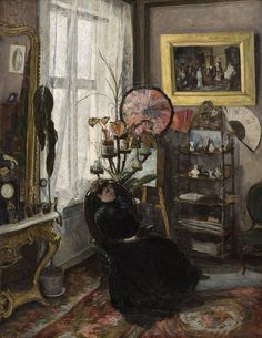 """Interior with seated woman (1887). Thorvald Torgersen (Norwegian, 1862-1943). Oil on canvas.""""Reading was my escape and my comfort, my consolation, my stimulant of choice: reading for the pure pleasure of it, for the beautiful stillness that surrounds you when you hear an author's words reverberating in your head."""" ― Paul Auster, The Brooklyn Follies"""