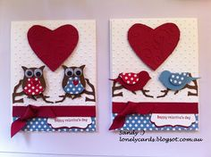 Stampin'up bird and owl punch, hand cut embossed heart.