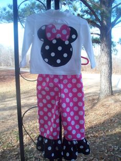 Minnie Mouse ruffle pants outfit by Lizzyraesboutique on Etsy, $35.00