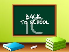 iCLIPART - Royalty Free Clipart Image of a Blackboard With Textbooks