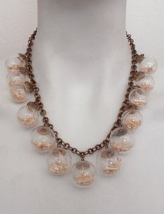 Ossuaria Jewelry - Vintage Glass Bubbles Filled with Bones - Bone Necklace