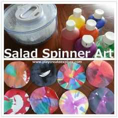 Play Create Explore: Salad Spinner Art Toddler Crafts, Preschool Crafts, Fun Crafts, Crafts For Kids, Preschool Centers, Toddler Fun, Salad Spinner, Fun Activities For Kids, Craft Activities