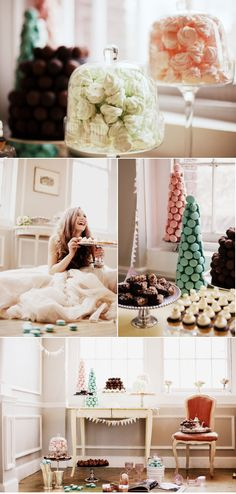 I don't see why she is so happy. With the macaroons, you eat one, they'll all fall! And how on earth are you supposed to get the treats out of the pedestal jars?!!? Sweets and treats, and they ALL FALL DOWN.