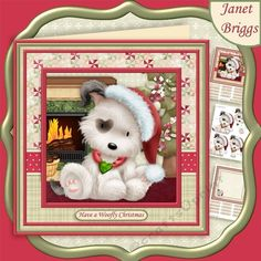 HAVE A WOOFLY CHRISTMAS 8x8 Decoupage & Insert Mini Kit by Janet Briggs 3 sheet Christmas card making download mini kit with 3d step by…