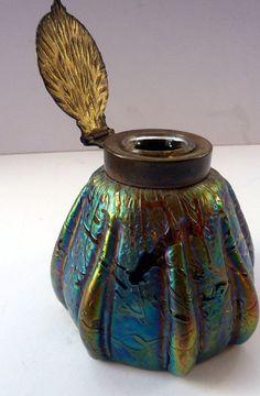 Gorgeous Austrian Art Nouveau Kralik Iridescent Ink Well. Bacillus Glass with…
