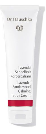 Lavender Sandalwood Calming Body Cream This body moisturiser features the smooth, comforting scent of lavender complemented by warm notes of sandalwood. Extracts of lemon balm and wood sorrel balance and renew, while macadamia nut, apricot kernel and avocado oils support and fortify the skin's protective barrier. Skin is left feeling smooth, soft and protected.