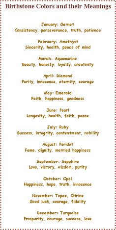 Birthstone Colors and their Meanings