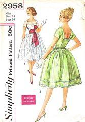 Vintage 1950's Rockabilly Dress Pattern Bust 34