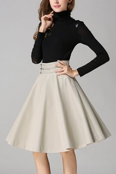 Apricot Artificial Leather Full Midi Skirt