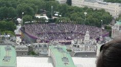 The Olympic beach volleyball stadium during the Olympics in London 2012