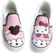Cat Style Children's Hand-painted Canvas Shoes Kids Sneakers Low Slip-On Casual Parent-child Shoes Size EU Painted Canvas Shoes, Painted Sneakers, Hand Painted Shoes, Painted Clothes, Girls Tennis Shoes, Kid Shoes, Hello Kitty Shoes, Cute Vans, Baskets