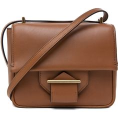 Reed Krakoff Standard Mini Shoulder Bag in Saddle ($348) ❤ liked on Polyvore featuring bags, handbags, shoulder bags, accessories, purses, bolsas, bolsos, saddle, leather handbags and man bag