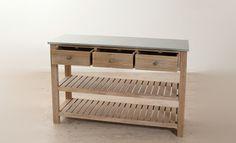 Console 2 étagères et 3 tiroirs vendu seul  paulownia et zinc  120 x 40 x 80 cm