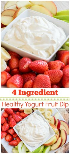 Healthy 4 Ingredient Yogurt Fruit Dip This healthy and delicious recipe is the perfect compliment to any fruit plate Made with 3 simple and pure ingredients this fruit di. Healthy Yogurt, Healthy Fruits, Healthy Fruit Desserts, Keto Fruit, Healthy Food, Healthy Eating, Fruit Recipes, Appetizer Recipes, Appetizers