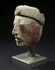 Ancient Mayan, Stucco Portrait Head, AD 550-850