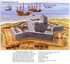 Medieval Houses, Medieval Castle, Conquistador, Portsmouth Harbour, Japanese Castle, Fortification, Old Buildings, Birds Eye View, Ancient Civilizations