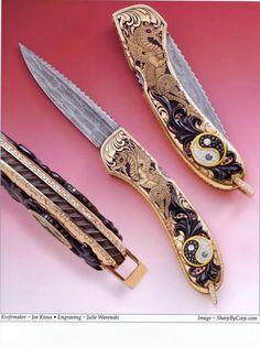 Knifemaker Joe Kious, Engraving by Julie Warenski, Image - SharpByCoop.com