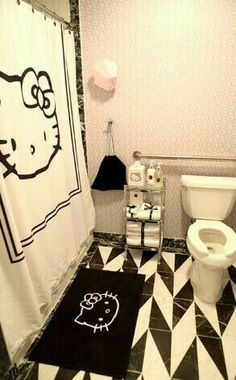 Hello Kitty bathroom for the modern, sophisticated woman:) basic black and white…
