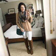 Casual Fall Outfit with white jeans, OTK Boots and Plaid Infinity Scarf