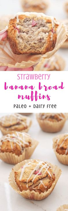 Overly ripe bananas, a dash of honey and strawberries floating throughout give the perfect touch of flavor and sweetness to these Dairy Free Strawberry Banana Bread Muffins. Dairy Free Recipes, Real Food Recipes, Cake Recipes, Snack Recipes, Dessert Recipes, Yummy Food, Muffin Recipes, Delicious Recipes, Gluten Free
