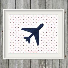 Blue Airplane Print  8x10 Art Print  INSTANT by greenoriginals