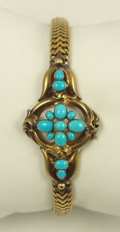 Victorian Era Turquoise Bracelet in 20kt Gold with Robbins Egg Persian Turquoise