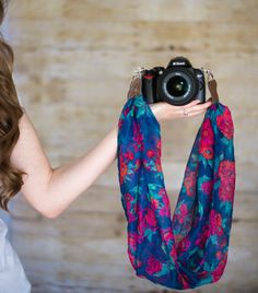 DSLR Camera Strap  Navy and Red Floral by ImaniStudio on Etsy