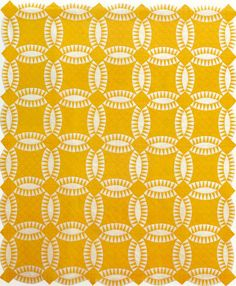 Week 14 - Elements of Design-Understanding Monochromatic Color - Wedding Ring, Made by Mary Hazel Norr Jorgensen. Cache Co, Utah Antique Quilts, Vintage Quilts, Quilting Designs, Quilting Projects, Wedding Ring Quilt, Wedding Quilts, Made By Mary, Two Color Quilts, Yellow Quilts