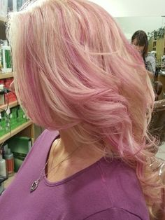 Blond and pink highlights
