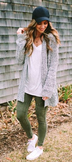 #fall #outfits  women's grey cardigan, black fitted cap, and white scoop-neck sihrt