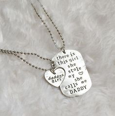 Daddy Daughter Necklace and Dog Tag