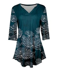 Look at this #zulilyfind! Teal & White Floral V-Neck Tunic - Plus Too #zulilyfinds
