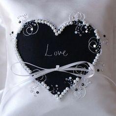 Black personalised wedding ring pillow handmade in the UK. www.ayedo.co.uk