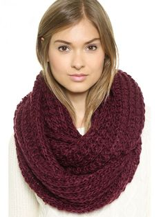 Love Love LOVE this Color! Cozy Wine Red Chunky Hand Knitted Infinity Scarf
