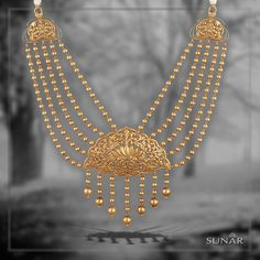 Look like an outline of glamour and make everyone crave to win your heart and melt over the beauty that you create with this master piece born in the by lanes of ‪ ‪ Moon Jewelry, Pendant Jewelry, India Jewelry, Gold Jewellery Design, Gold Set, Jewelry Patterns, Necklace Designs, Wedding Jewelry, Jewelery
