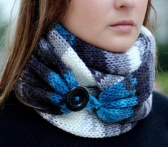 Ombre Knit Scarf  with button,  infinity scarf, circle scarf, loop scarf , knit…