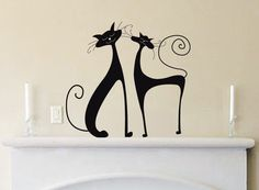 Wall Decal: Cats Vinyl Wall Art Decal Sticker - Animal Lovers - Wall Decor - WD0173 by WallStickums on Etsy https://www.etsy.com/listing/73487560/wall-decal-cats-vinyl-wall-art-decal