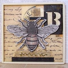 Encaustic Collage | Mixed Media Encaustic Sewn Bee Collage by GatheredTogether