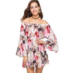 47a571ad7322 Slash Neck Mini Floral Print Flare Sleeve Boho Dress Plus size. Summer  Dresses For WomenSpring DressesBeach DressesCasual DressesShort DressesOff  Shoulder ...