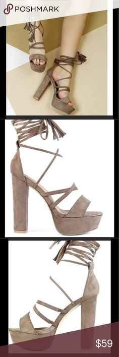 "NWT Beige Strappy tassel platform sandals size 8 Brand new beige microsuede platform heels with tassel straps. Heel height 5"",  platform 1 1/4"". Euro Size 39, US equivalent to an 8. Fits true to size. Lace up straps. Can be doubled as shown or laced up to the knee. Beautiful shoes! Truffle Shoes Platforms"