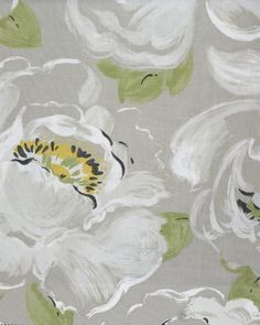 Vanessa Fabric  A painterly floral design of large white peonies on a soft linen grey background.